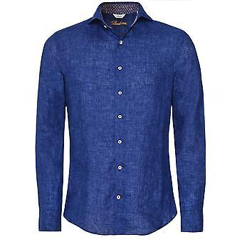 Stenstroms Slimline Linen Geo Trim Shirt