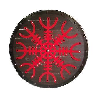 Wooden Viking shield handmade Helm Of Awe metal top SWE14