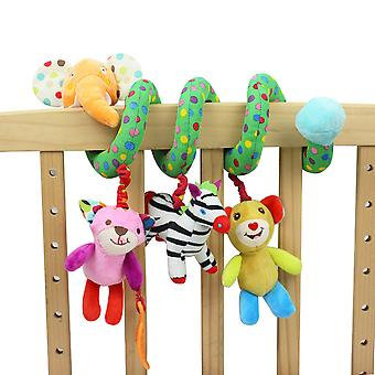 Cartoon Animals Baby Spiral Toy Cute Stroller Hanging Toy With Sound Paper Bb Device Bell Music Box Plush Activity Sipral