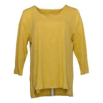 J.Jill Women's Top Pima Cotton V Neck Knit 3/4 Sleeves Yellow A390661