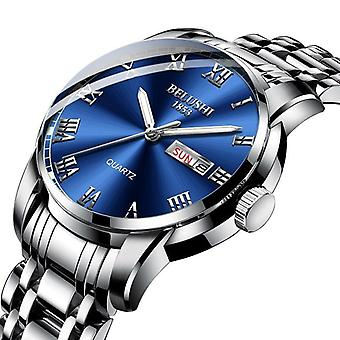 Reloj de cuarzo para hombre de acero inoxidable impermeable de la marca superior