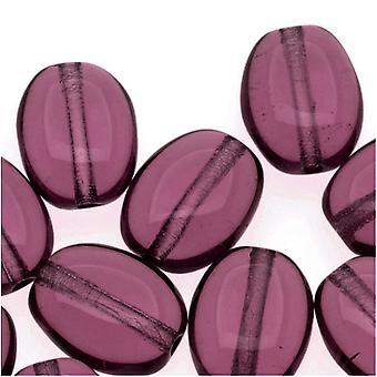 Tšekki lasi 8 x 6mm tasainen sileä soikea ametisti violetti (25)