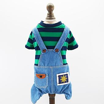 Dog cat clothes striped denim suspender pants small dog spring and autumn