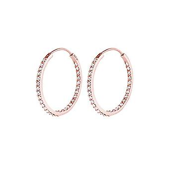 Elli - Glamour dames oorbellen, goud 925 zilveren hoepel oorbellen verguld roségoud met Ref gesneden Swarovski kristallen. 4050878519834