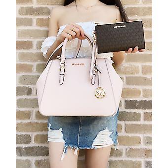 Michael kors charlotte große Tasche + doppel Reißverschluss Armband braun mk erröten rosa
