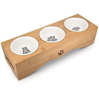 Futterstation für Katzen und Hunde - Futternapf Set aus Keramik - erhöhter 3er Napf Ständer - 3 x