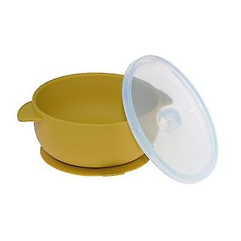 Yellow high temperature silicone tableware binaural bowl for baby training x5378