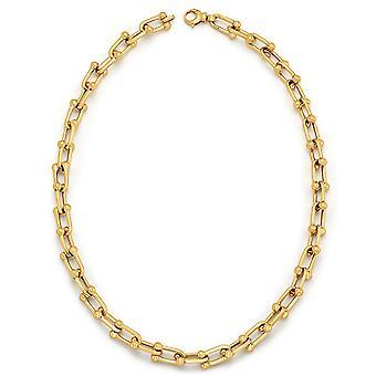 14k Gult Guld Glänsande Fancy Länkar 7mm Hög polsk Hummer Klo Lås Halsband 18,0 Tum Smycken Gåvor för kvinnor