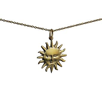 9ct Gold 21mm Full Sun Pendant with a cable Chain 20 inches