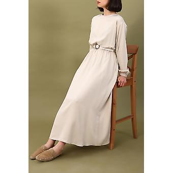 طويل مريح حزام المطران الأكمام فستان فيسكوز