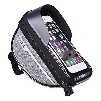 Bicycle waterproof phone bag, touch screen operation, earphone wallet storage bag(Gray)