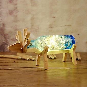 Lampada bottiglia di cervo di legno