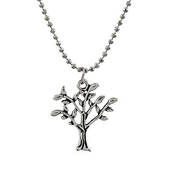 Silver Tree of Life Necklace with Dainty Bead Chain