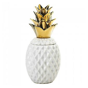 Accent Plus Porcelain Pineapple Jar with Gold Leaves, Pack of 1