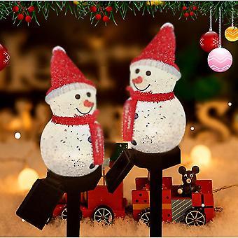 Caraele Christmas Snowman Path Lights 2 Pack Led Solar Plug-in Lights