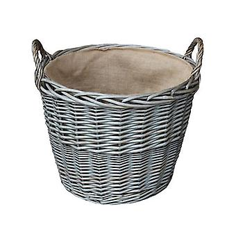 Kleine antike Wash Finish Wicker ausgekleidet Log Körbe