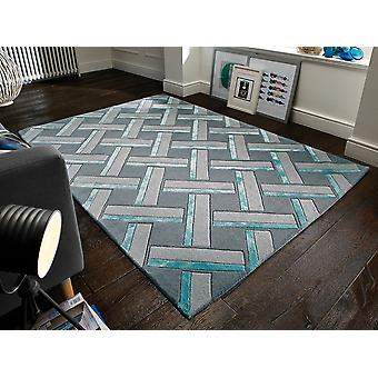 Botanical Parquet Duck Egg Grey  Rectangle Rugs Funky Rugs