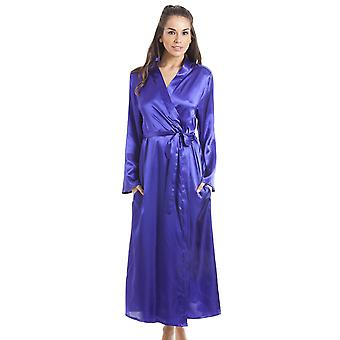 Camille Womens Purple Luxury Satin Dressing Gown