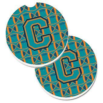 Letter C Football Aqua, Orange and Marine Blue Set of 2 Cup Holder Car Coasters