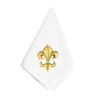 Tesoros de Carolines 8125NAP negro y Gold Fleur de lis servilleta