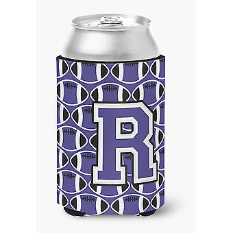 Letter R Football Purple and White Can or Bottle Hugger