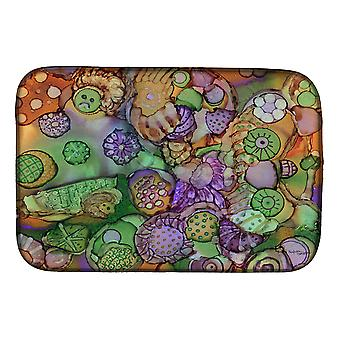 Carolines Treasures  8971DDM Abstract in Purple Green and Orange Dish Drying Mat