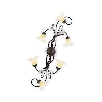 Traditionelle Tiroler ideal Lux braun 6 Lampe Deckenleuchte Swirl