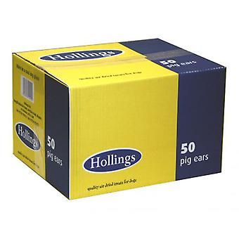 Hollings cerdos orejas perro Natural golosinas a granel caja de 50, producto británico