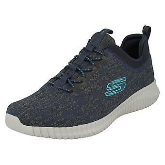 Mens Skechers lässig Memory Schaum Trainer Hartnell 52642 - Marineblau/Textil - UK Größe 9.5 - EU Größe 44 - US Größe 10.5