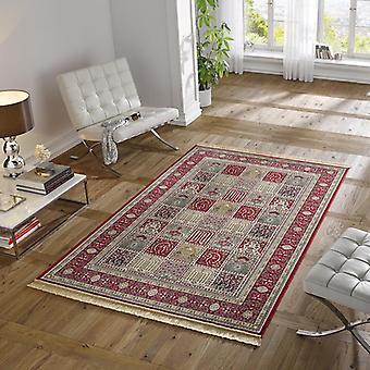 Concevoir le tapis rayonne frange rouge précieux