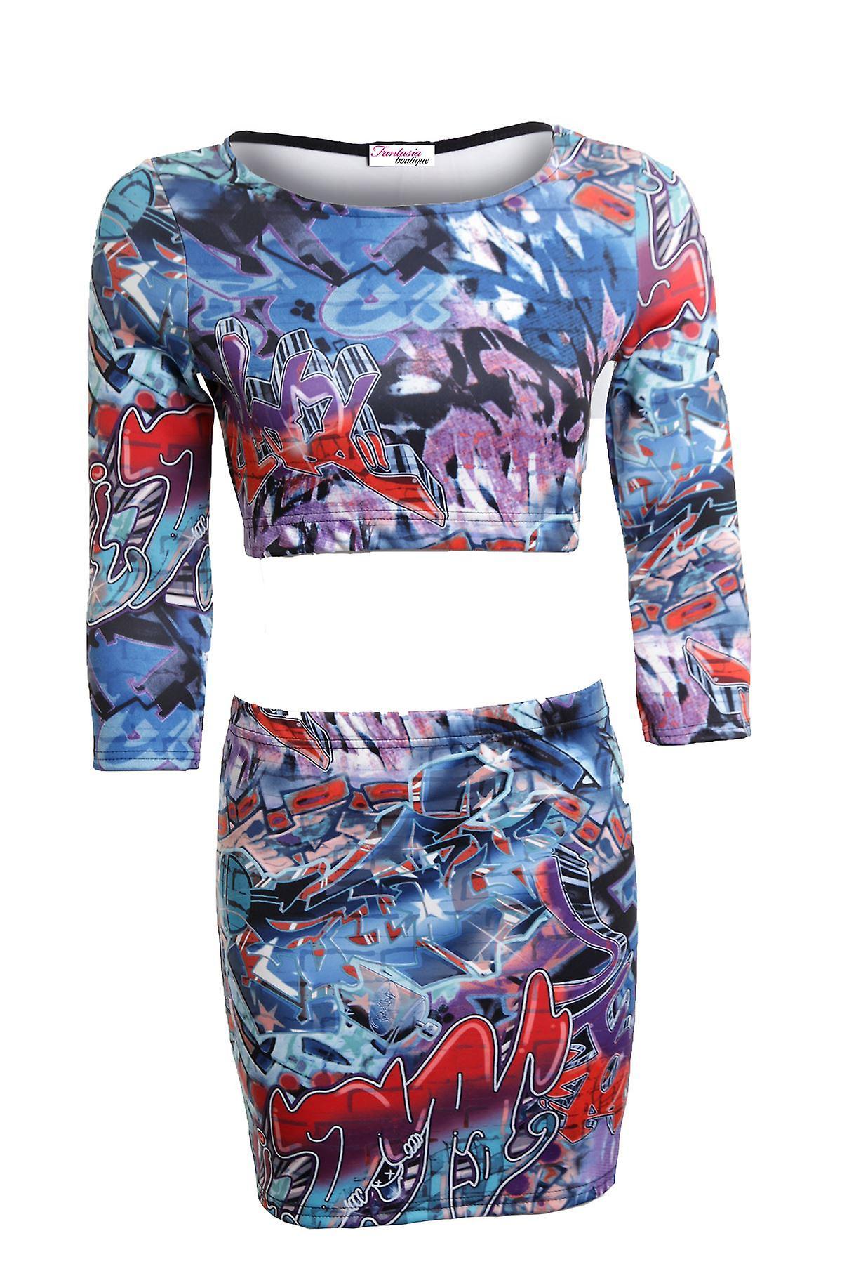 Uusi naisten 3/4 hihat hullu Funky Graffiti tulosta naisten hame mekko