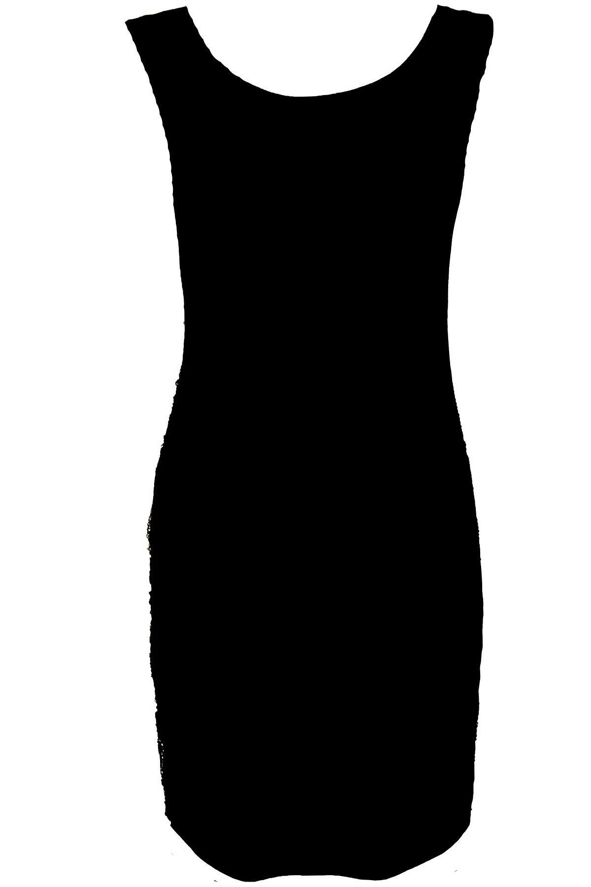 Ladies Gold Black Sequin Aztec Embroided Pattern Women's Bodycon Dress