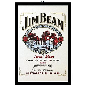Jim Beam Sour Mash wall mirror with black plastic framing wood.