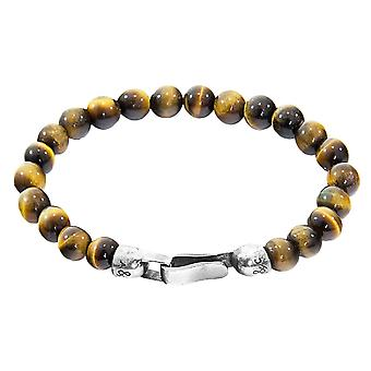 Anchor and Crew Outrigger Tigers Eye Stone Bracelet - Brown/Silver