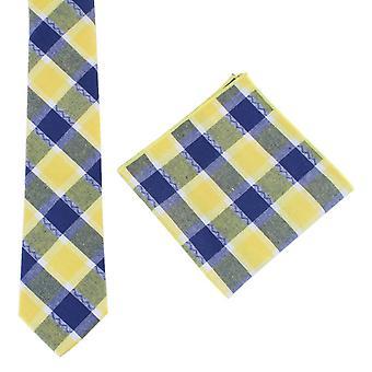 Knightsbridge Neckwear Check Tie and Pocket Square set - Yellow/Navy