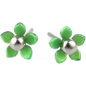 Ti2 Titanium 8mm Five Petal Polished Bead Flower Stud Earrings - Fresh Green