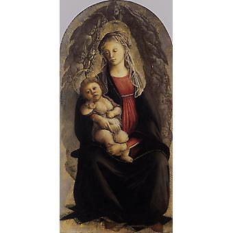 Madonna et l'enfant en gloire avec, Sandro Botticelli, 80x40cm