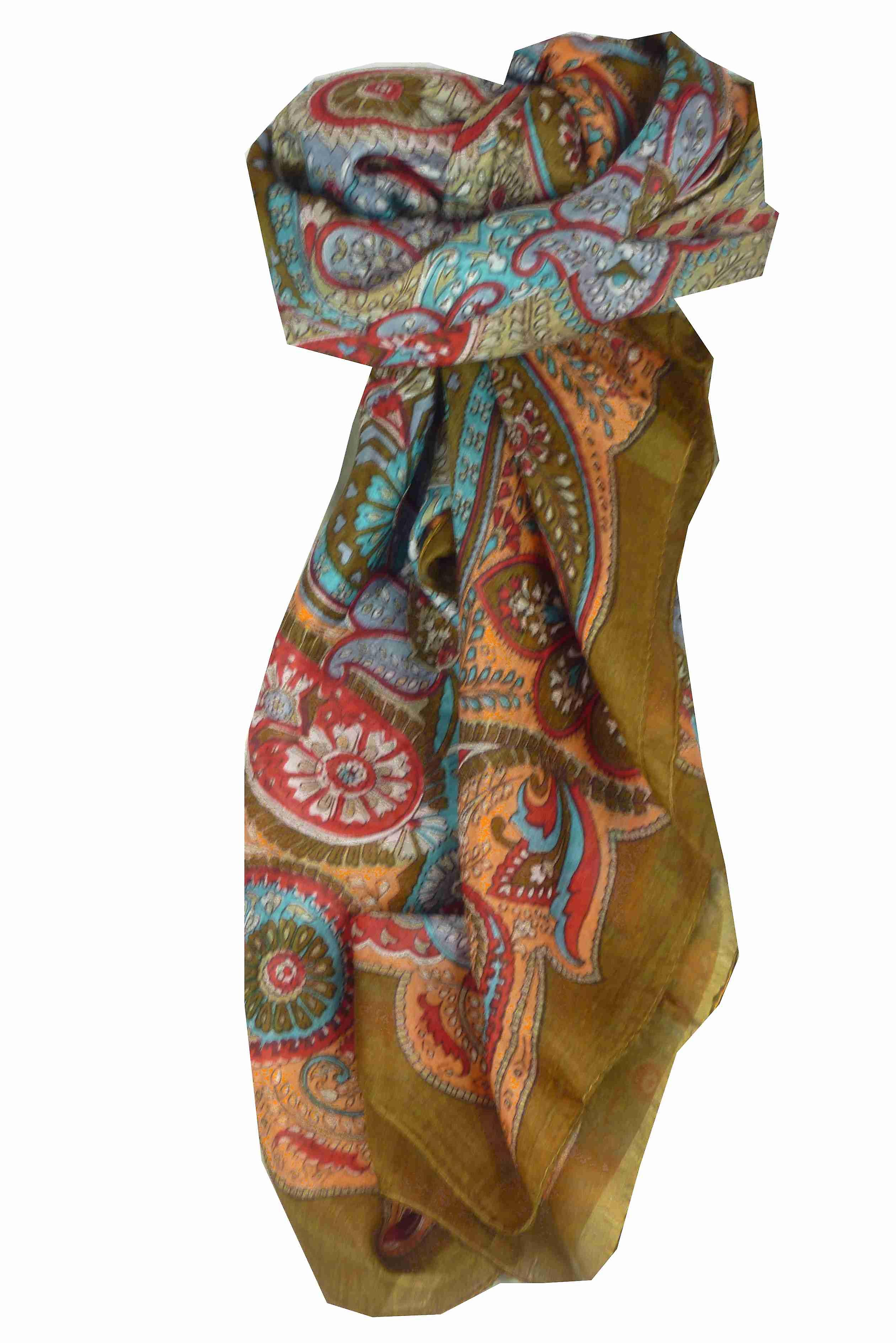 Mulberry Silk Traditional Square Scarf Girij Caramel by Pashmina & Silk