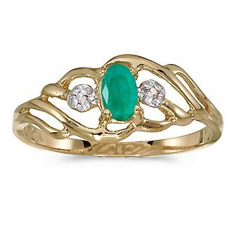 LXR 10k Gul Guld Oval smaragd og diamantring 0,16 ct