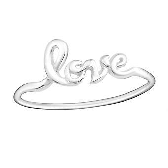 Liebe Schriftzug - 925 Sterlingsilber Plain Ringe - W15383X