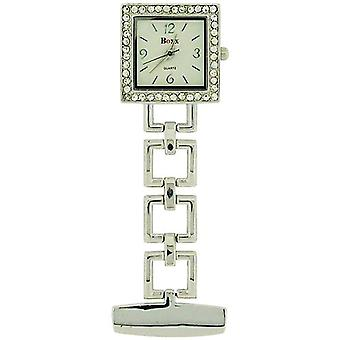 Boxx Glamour Silver Tone Square Open Link Professional Fob Watch BOXX009
