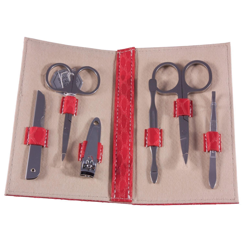 FMG 6 Piece Ladies Manicure Set Red Snakeskin Effect Case