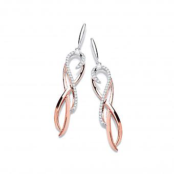 Cavendish French Silver, Rose Gold and Cubic Zirconia Spirit Drop Earrings