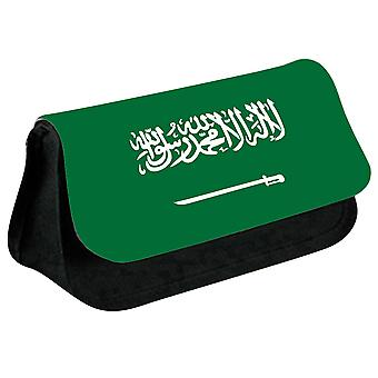 Saudi Arabia Flag Printed Design Pencil Case for Stationary/Cosmetic - 0152 (Black) by i-Tronixs