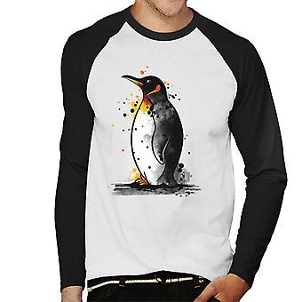 Penguin Paint Splat Men's Baseball Long Sleeved T-Shirt