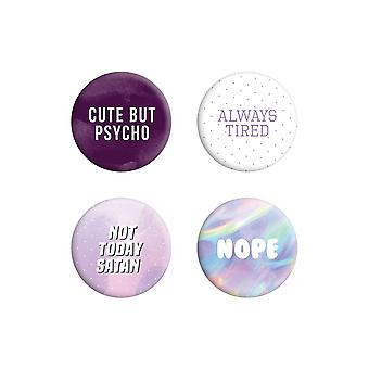 Grindstore Not Today Satan Pastel Goth Badge Pack