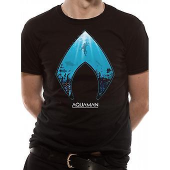 アクアマン ユニセックス アダルト ムービー ロゴとシンボル デザイン T シャツ