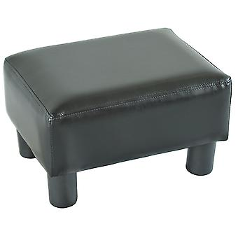 HOMCOM PU Leather Footstool Foot rest Small Seat Foot Rest Chair Black Home Office  with Legs 40 x 30 x 24cm