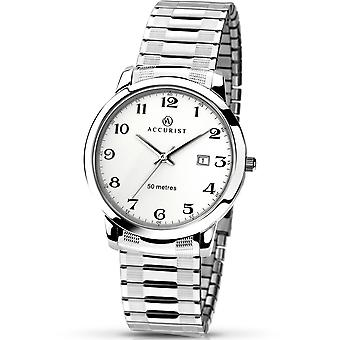 Accurist Mens Round White Dial Stainless Steel Expanding Bracelet Watch