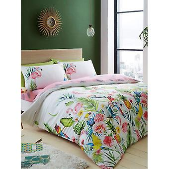 Leila Tropical Double Duvet Cover and Pillowcase Set
